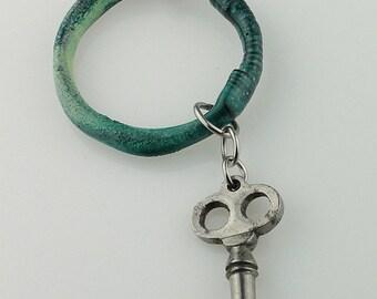 Enameled Hoop Pendant, Shades of teal, Wire Hoop Necklace, Torch Fired, Vintage Skeleton Key