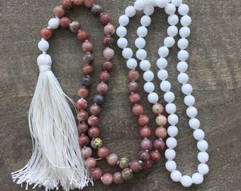 CLEARANCE Pink and White Mala