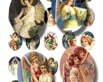 vintage angels collage sheet, 30 mm x 40 mm ovals, printable digital download collage sheet no. 40