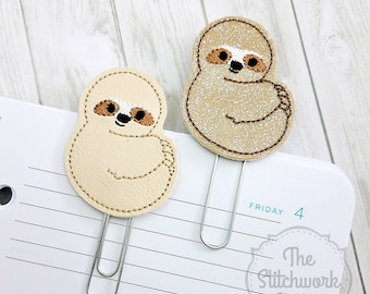 Sloth Planner Clip - Paperclip - Bookmark - Pick your color!