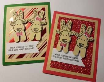 Kerstkaart, zelfgemaakte wenskaart, Merry Christmas Card, Holiday groeten, kerst groeten, rendieren Cheer pakket van 10