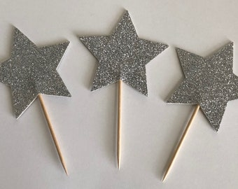 """12 Silver Glitter Star Double Sided Cupcake Toppers Cake Centerpieces Party Picks X-Large 3"""" Wide"""
