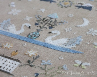SWANS & BUTTERFLIES - official official paper cross stitch pattern, primitive, sampler, swans, spring, blue, The Snowflower Diaries