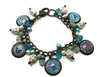 Skull Charm Bracelet - Skull Altered Art Jewelry - Mexican - Day Of The Dead Bracelet - Day Of The Dead Jewelry - Skull Bracelet - Skull