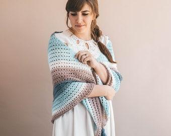 Crochet Pattern - Easy Wishing Well Shawl - pdf PATTERN - Tutorial - Sewrella