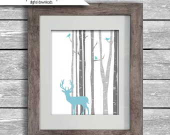 8x10 Birch Tree Forrest With Deer and Birds Silhouette Digital Download Nursery - Hunting Wall Art Quick Gift Blue Grey - Nature - Woodland