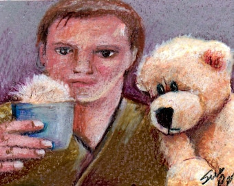 original color pencil drawing Star Trek Captain Kirk theres a tribble in my coffee or is it teddy bear fluff