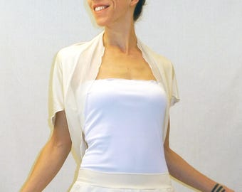 Ivory jersey shrug, bridal ivory cardigan, viscose shrug bolero, cap sleeves bolero, ivory jersey and mesh