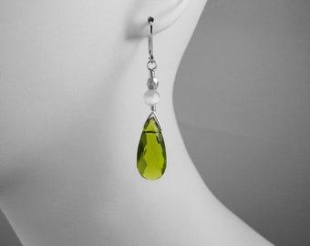 Green, Emerald, Green White and Silver, Under 30 Dollars, Crystal Dangle Earrings, Green Drop Earring, Green Briolette Earring