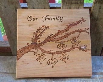 Personalized Family Tree Wood Cutting Board, Blended Family Gift, Handmade Wood Cutting Board, Housewarming Gift, Wedding Gift
