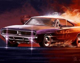 Automotive Art Muscle Car 1969 Charger 12x18 Metallic Print