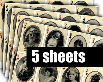 MORIARTY CARDS - Digital Printable Collage Sheets - Vintage Playing Cards, Hollywood Starlets, Silent Film Stars, Actresses, 5 Sheet Bundle