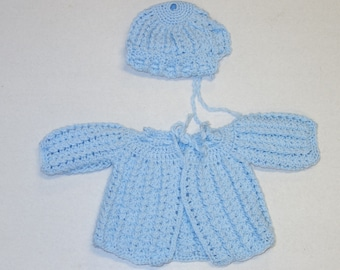 New Born Blue Crochet Hat and Jacket made from Phentex Olifin Handmade