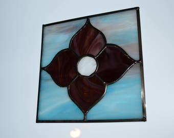Stained Glass Suncatcher Handmade Purple Flower!!!