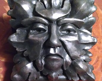 Blackened Iron Green Man, metallic iron finish, gothic revival, wall art, corbel  bracket, architectural