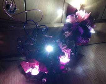 Light up, pink and purple, prom corsage and boutonniere