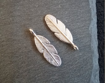 8 or BULK 30 Antique Silver Tone Feather Charms 9x30mm