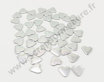 Fusible heart - silver - 6mm - x 75pcs
