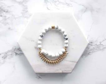 Marble Gemstone Stacking Bracelet, Howlite Gemstone Bracelet, Beaded Stacking Bracelet, Layering Bracelet, Boho, Gift for Her, Best Friend