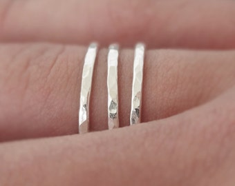 3 Sterling Silver Rings - 16 gauge - set of 3 stacking rings . choose your size