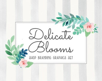 Modern Floral Shop Branding Banners, Avatar Icons, Business Card, Logo Label + More - 13 Premade Graphics Files - DELICATE BLOOMS