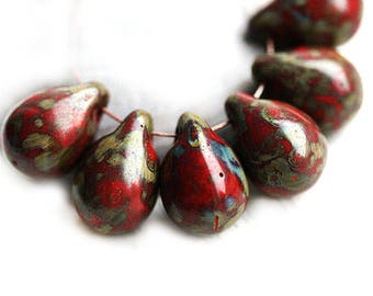 10x14mm Red Teardrop beads, Opaque Red Picasso briolettes, rustic czech glass drops - 6Pc - 0676