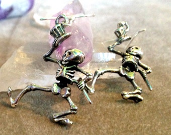 Grateful Dead Dancing Skeleton Earrings Sterling Silver Hand-Cast Dead Head Shakedown Street