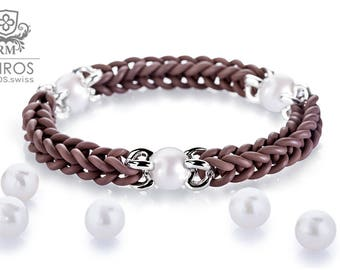 KAIROS No. 15 white pearls Rubber-Bracelet with 3 freshwater pearls and sterling silver