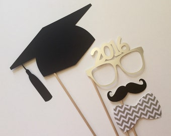 2018 Now Available Graduation Photo Booth Props . Graduation . Class of 2016 . Glitter and Metallic . Silver . Set of 4