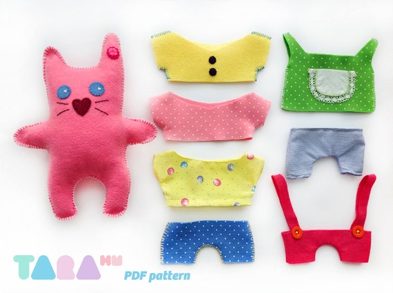 DIY Felt Pattern Cat with Clothes, Fabric Cat Toy, Maxi TaraCat ...