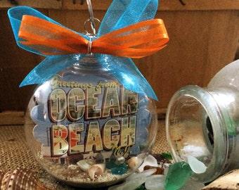 Ocean Beach New Jersey Shore Postcard Souvenir Christmas Ornament - Unique Gift!