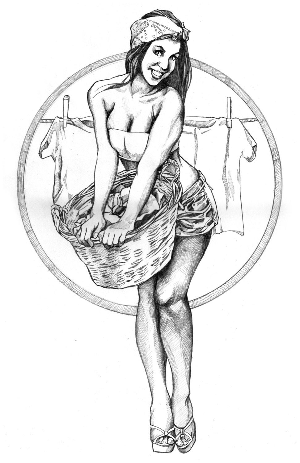 This is an image of Selective Pinup Girl Drawing