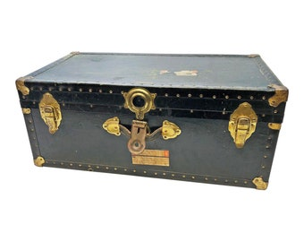 Vintage Military STORAGE TRUNK Train Luggage BLACK Flat Top Foot Locker  Wood Toy Box Coffee Table Base Rustic Us Wooden Gold Stickers