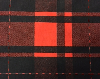 Soft, Black & Red Flannel Fabric, 100% Cotton