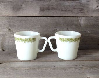 Vintage Pyrex Crazy Daisy heavy weight milk glass mugs | Corning Ware