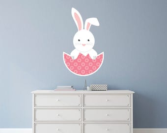 Bunny In Pink Egg Easter Wall Sticker