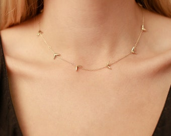 14k Gold Seed Necklace | 14k Yellow Gold or 14k Rose Gold Necklace