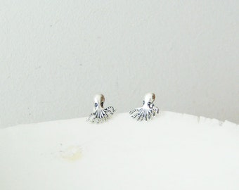 Silver octopus studs, solid sterling tiny octopus studs, slightly oxidised octopus earrings, Greek sea themed, silver jewellery