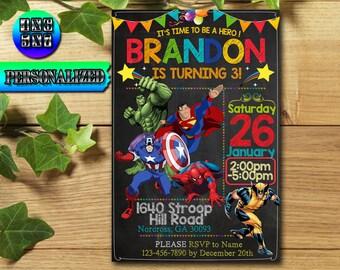 Superhero Invitation / Superhero Birthday / Superhero Party / Superhero Birthday Invitation / Superhero Printable / Superhero Invite / hero
