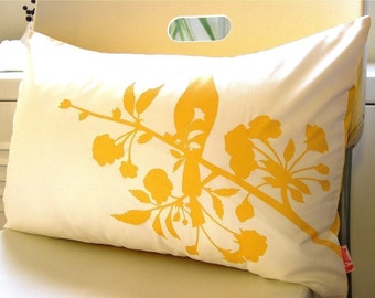 Yellow on Off White Blooming Blossom Rectangle Pillow