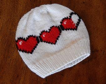 8 Bit Heart Beanie - Valentines Gift Geekery : Baby Hat, Toddler Hat, Child Hat, Adult Hat