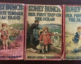 3 Vintage Children's Books-Honey Bunch Books 1927-1929 By Helen Louise Thorndyke-Good to Fair Condition
