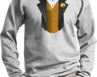 Men's Gold Vest Tuxedo Sweat Shirt GOLDVEST-PC90