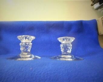 "Pair, Fostoria American 3"" Single Candleholders"