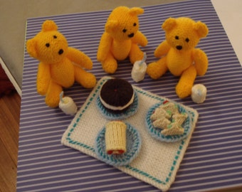 Vintage Knitted Toys Hand Made Teddy Bear's Picnic Set