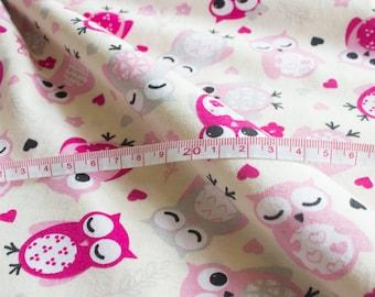 Single Jersey OWL || Cotton Lycra Jersey || Knit Fabric || Print Fabric || Fabric by the half yard