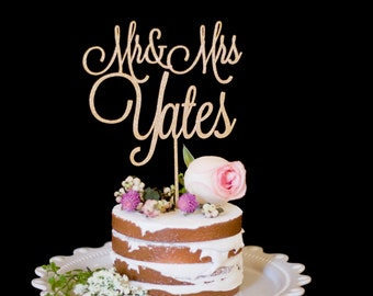 Custom Thin Cursive Mr and Mrs Wedding Cake Topper-Gold