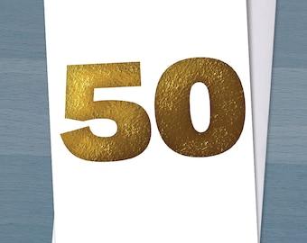 Golden wedding Card, Happy Golden Wedding Anniversary / 50 years married / 50th wedding anniversary / Typography / Typographical