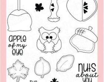 Happy Fall Stamp Set, Stamp Set, Sentiment Stamps, Clear Photopolymer Stamps, Pink & Main