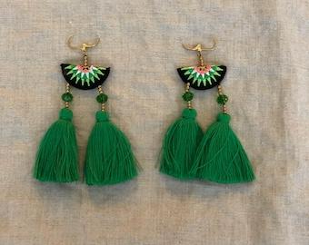 Green, fan style statement earrings
